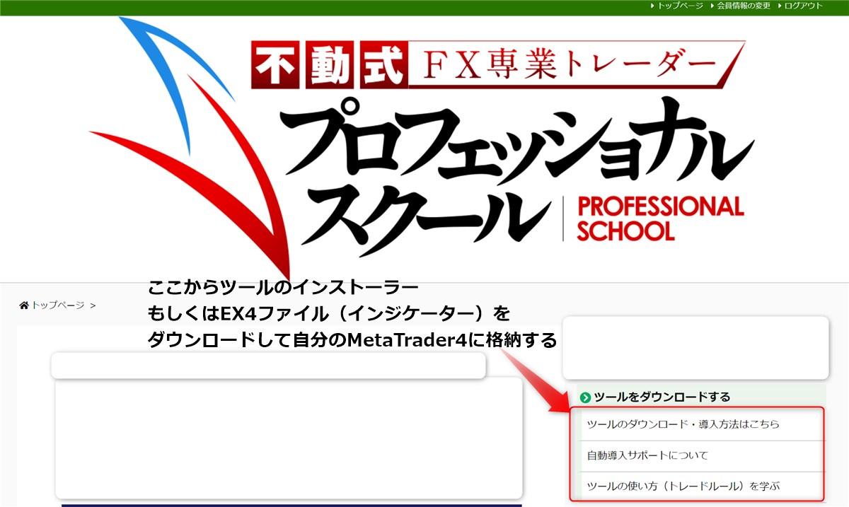 不動式FX 会員サイトからツールをダウンロード